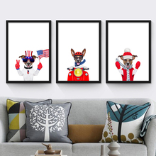 Dog Riding Motorcycle Listening Music Nordic Canvas Mural Art Paper Unique Wall Drawing Ornaments for Shop Cafe Children Bedroom