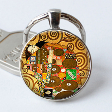 Gustav Klimt Art Keychain Klimt's Fulfillment Art Glass Klimt Keyring Couple Lovers Gift Romantic Valentine Gift Key Chain Ring