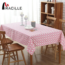 Miracille Cotton Linen Clover Geometric Pattern Rectangular Tablecloth Dinner Table Decorative Cover For Picnic Party 2 Colors(China)