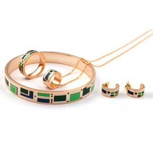 Jewelry Sets Fashion Dubai Vintage Enamel Stainless Steel Rings Bangle Earrings Sets Necklace for Women Party(China)
