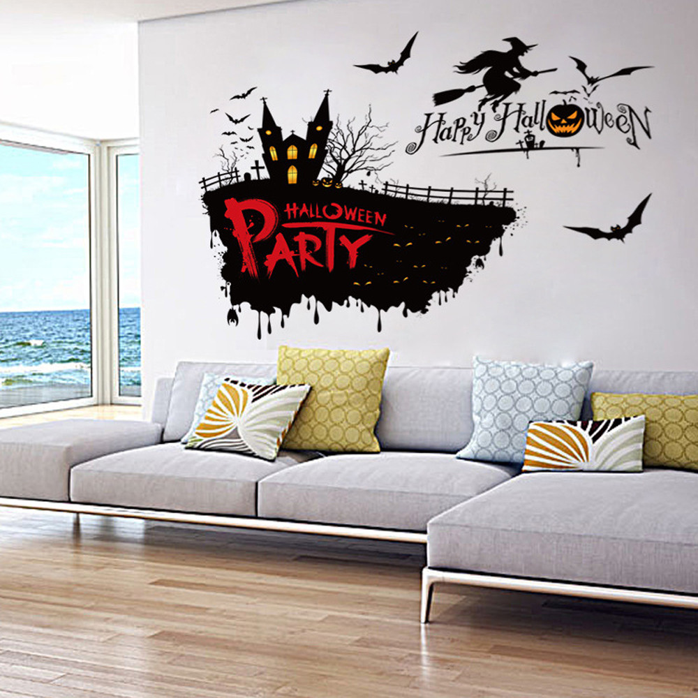 Creative wall stickers DIY party decoration wall decals Festival Decor Halloween Witch Pumpkin Wall Sticker vinilos decorativos(China (Mainland))