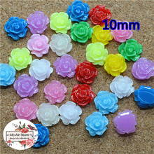 100pcs 10mm Mixed Color heart shiny flower resin flatback cabochon DIY jewelry/phone decoration No Hole