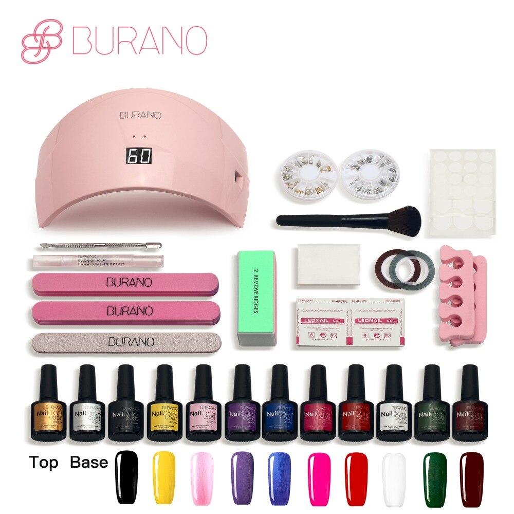 Burano 24w led lamp Nail Gel Soak-off Gel polish Top &amp; Base Coat gel nails polish kit art tools kits sets manicure<br>