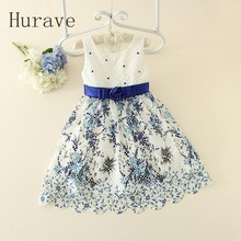 Hurave 2017 Baby Lolita Girls Dresses Girl Embroidery Kids High Quality Fashion Dress Cute Girl Dress Princess Vestidos(China)