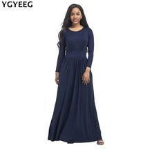 Buy YGYEEG Long Sleeve Plus Size Plus Size Dress New Autumn Woman Round Neck Dress Sexy Dresses Long Floor-Length Elegant Vestidos for $18.90 in AliExpress store