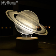Specialty 3D Creative Art Atmosphere Night Lights Acrylic Saturn Lamp Bedroom Decoration Light Gift For Girls Kids High Quality