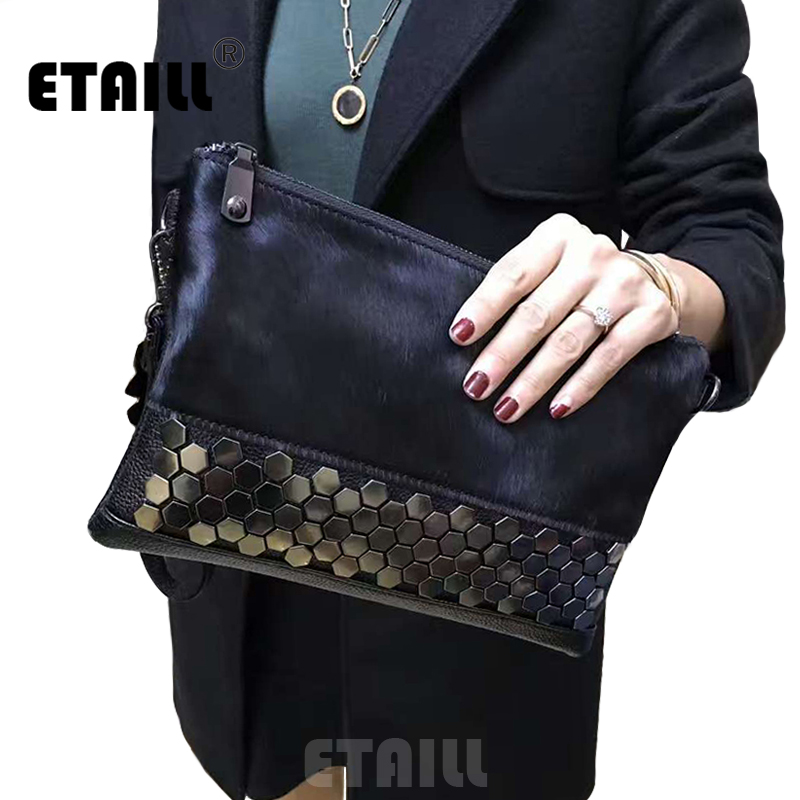 New Brand Womens Studded Clutch Bag Fashion Real Leather Black Envelope Rivet Evening Bags Female Clutches Brand Hand Bag <br><br>Aliexpress