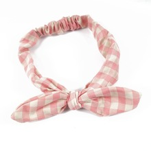 New Korean Plaid Fabric Rabbit Ear Headbands For Women Lady Girl Cute Knotted Elastic Headwraps Hair Accessories
