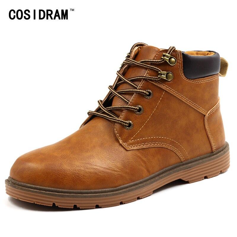 COSIDRAM High Top Autumn Winter Shoes Men Boots PU...