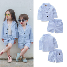 2PCS Quick Dry Fashion Toddler Kid Clothing Sets Girls Boys Summer Thin Coat Tops Short Pants Formal Baby Clothes Buttoned Set(China)
