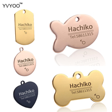 YVYOO Free engraving Multiple languages Pet cat dog collar accessories Stainless steel ID tag customized tag name telephone B02(China)