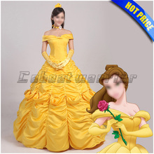 Beauty and the Beast cosplay costume adult princess Belle costume yellow dress Custom made