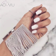 AOMU Summer Gold Silver Rhinestone Multilayer Crystal Bracelet Boho Beach Wristband Wide Bracelets for Women Wedding Jewelry(China)