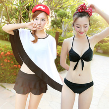 4 Colors New Style Women Black Sexy Bandage Bikini 4 Piece Set Padded Swimsuit Push Up Bandeau Swimwear Biquini Bathing Suit(China)