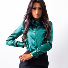 Hot 2017 Women silk satin Shirt Autumn office work Long Sleeve blouse ladies Elegant Party Wine red Green blouse Tops Plus size