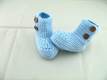 free shipping,NEW HOT Handmade Crochet Warm Winter Booties Boots Baby First Walker Shoes -blue(China)