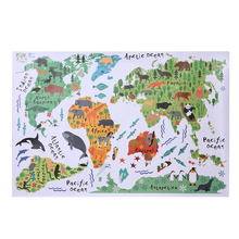Removable Animal World Map Wall Stickers Home Bedroom Background Wall Decoration Multicolor Waterproof PVC Wall Sticker