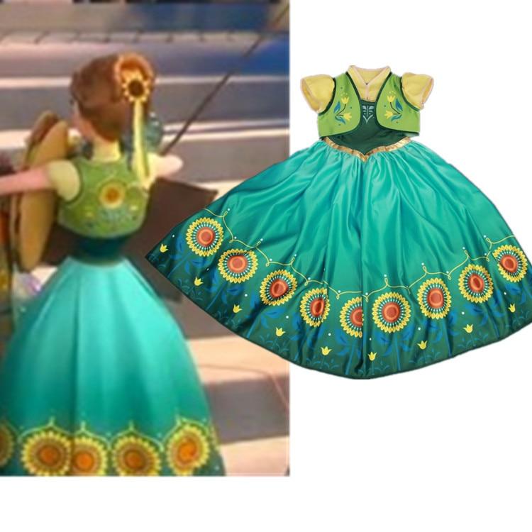 Girl Cinderella Princess Full Dress Frozen Fever Kids Clothing Party Wedding<br>