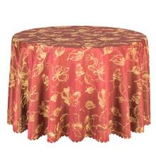 1PCS Hotel Wedding Party Table Cloths Poly Damask Dining Table Cover Round Red Tablecloth Washable Table Linens Rectangular