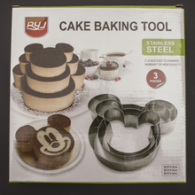 Hot Sale Mickey Stainless Steel Circle Mousse Ring Baking cakeTool 3Pcs/Set 3 Layer Cake Mould  Bakeware Mold A111