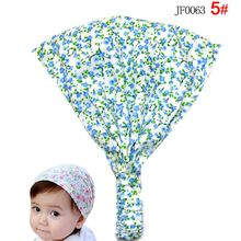 Cute Baby Floral Printing Cotton Headband Children Girl Flower Bandanas Headscarf Band 1-3 Year Kids Girls New