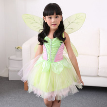 Vocole Girl's Fairy Tale Green Tinkerbell Costume Kids Halloween Tinker Bell Cosplay Fancy Dress