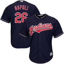 MLB Youth Cleveland Indians Mike Napoli Baseball Alternate Navy Official Cool Base Player Jersey(China)