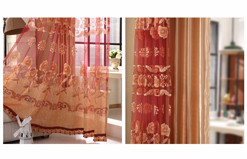 European Royal Curtains 11 Colors Embroidered Voile Curtains for Living Room Drapes Crystal Beaded Curtains Sheer (36)