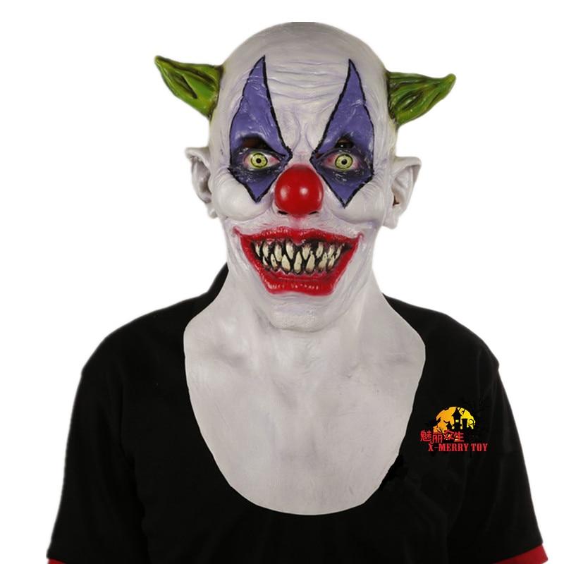X-MERRY игрушка жуткий зло страшно Хэллоуин клоун маска латекса зеленый Рогатые клоун masken Бесплатная доставка(China)