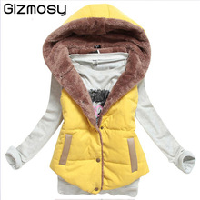 Vest Women Autumn/Winter Waistcoat Hooded Thick Warm Down Cotton Wool Collar Vest Female Large Size Jacket&Outerwear SY157