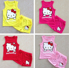 Hot Summer girls' suits Hello kitty KT Cat cartoon baby suit short-sleeved T-shirt + shorts Set girls baby kids child clothes