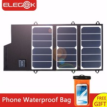 ELEGEEK 20W Solar Panel Charger Portable Foldable Dual USB Waterproof 2A Solar Panel Battery Charger Power Bank for Phone(China)