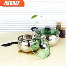 1pcs Multi Purpose Soup Pot Stainless Steel Pot with Toughened Glass Cover Kitchen Pot for Gas and Induction Cooker(China)