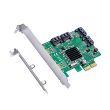 IOCrest 4 Port SATA 3.0 6Gbps PCI-Express X1 Expansion Card Chip for Marvell 88SE9235 with Low Profile Bracket