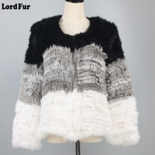 (Lord Fur) Lady Real Knitted Rabbit Fur Coat Jacket Autumn Winter Genuine Women Fur Striped Outerwear Coats LF4031