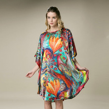 100%  Silk Satin Dress Natural Silk Women Dresses Free Size Home Dress New Arrival Digital Printed Dress China Factory Peacock