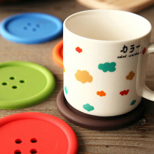 Multiple colors Silicone Cup mat Cute Colorful Button Cup Coaster Cup Cushion Holder Drink Cup Placemat Mat Pads Coffee Pad