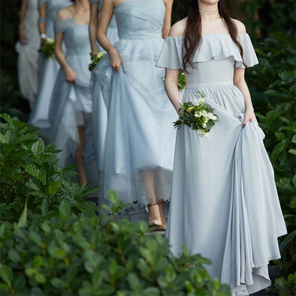 Vestido Madrinha Longo Champagne Tulle Bridesmaid Dresses Long ...