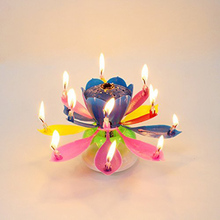 LumiParty 1pcs Lotus Flower Candle Birthday Party Cake Topper Music Sparkle Rotating Candles Decoration Birthday Cake Topper(China)