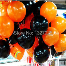 Wholesale 10pc/lot 2g 10 inch Black Pearl orange black Latex Balloons For Party Wedding Birthday Halloween Decoration balao(China)