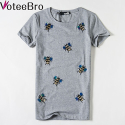 VoteeBro 2016 new Hot Bee Pattern harajuku t shirt women Sequins top Embroidery t shirts girl new camisas femininas tshirt women