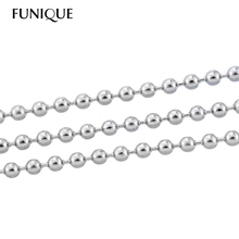 FUNIQUE 10M 2mm Stainless Steel Necklace Chains Ball Chains for Jewelry DIY Necklace Jewelry Findings Silver Tone Wholesale