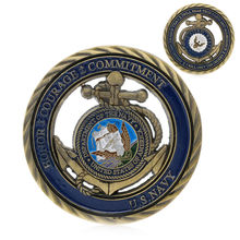 Commemorative Coin  U.S. Navy Honor Courage Commitment Anchors Challenge Art Coin New