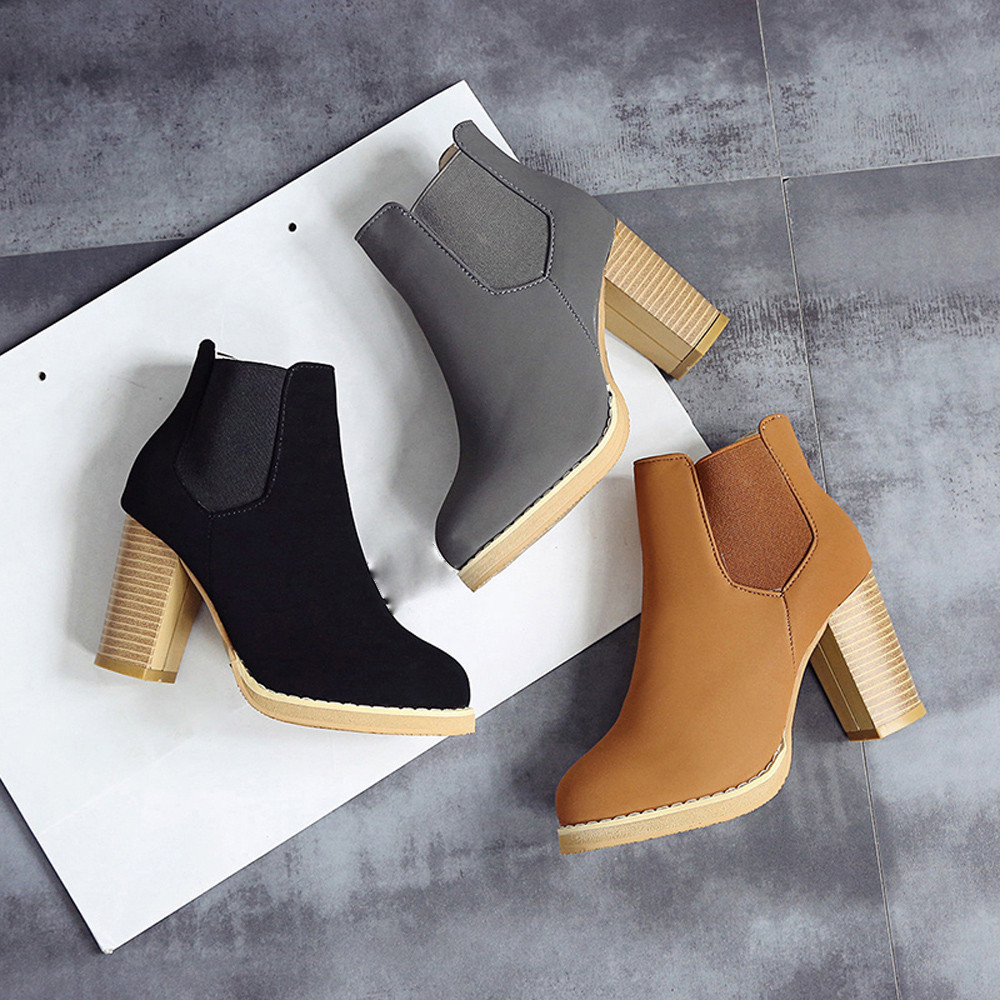 Ulrica New Arrival High Quality  Fashion Female Round Head Leather Ankle Boots High Heeled Spring Autumn Winter Martin Boots<br><br>Aliexpress