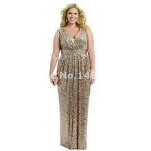 Plus Size Backless Long Wedding Prom Gowns Bridesmaid Dress 2016 V Neck Sequins Bling Gold Rose Silver Black Bridesmaid Dress