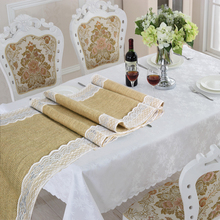 Burlap Table Runner 30x275cm silver White Lace Tabletop Decor for Rustic Country Wedding Party Decoration Farmhouse Kitchen