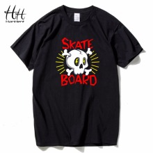 HanHent Skateboard Skull Logo Printed T Shirts Cotton Round Collar Tops 2016 Men Brand Clothing New T-shirt 3D Fitness Tshirt(China)