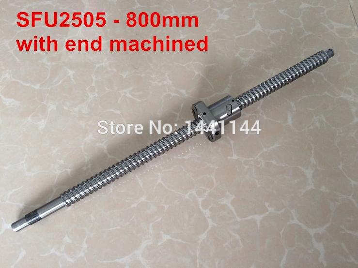 SFU2505 - 800mm ballscrew + ball nut  with BK20/BF20 end machined<br>