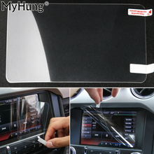 Car Styling GPS Navigation Screen Protective Film For Ford Mustang 2015 2016 2017 Car Accessories of LCD Screen Car Sticker(China)