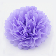 "6pcs 15""(37cm) Light Purple Hanging Tissue Paper Pom Pom Lantern Decoration Balls Wedding Party Decorative Flower Rose"